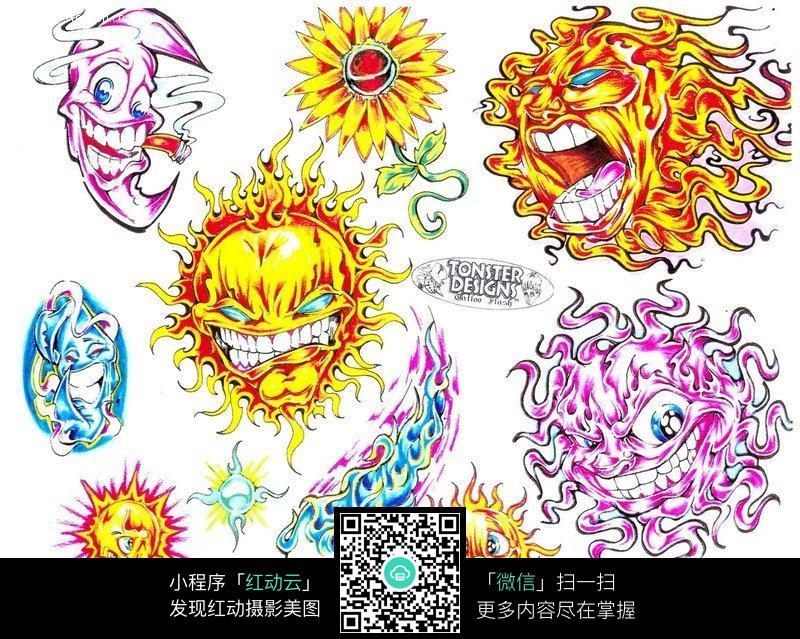太阳月亮彩色手绘纹身图案图片