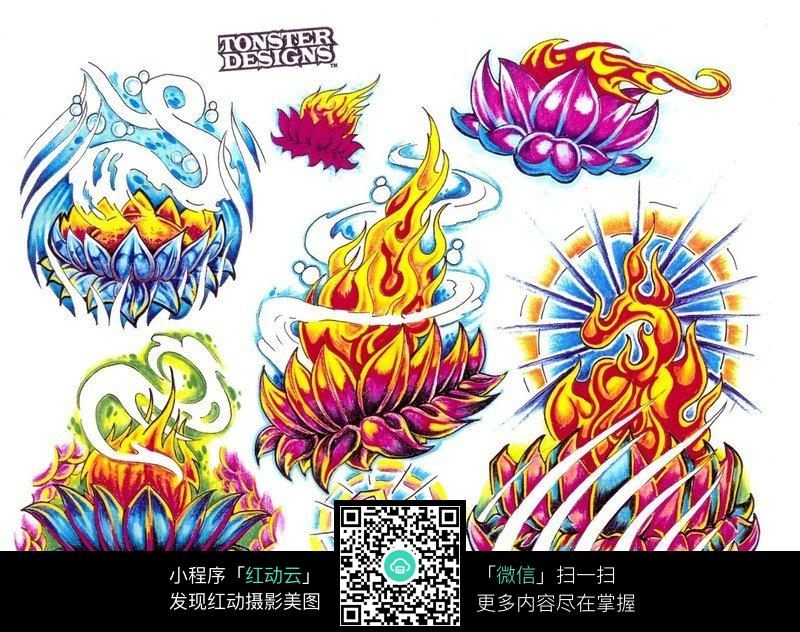 莲花宝座手绘纹身图案图片