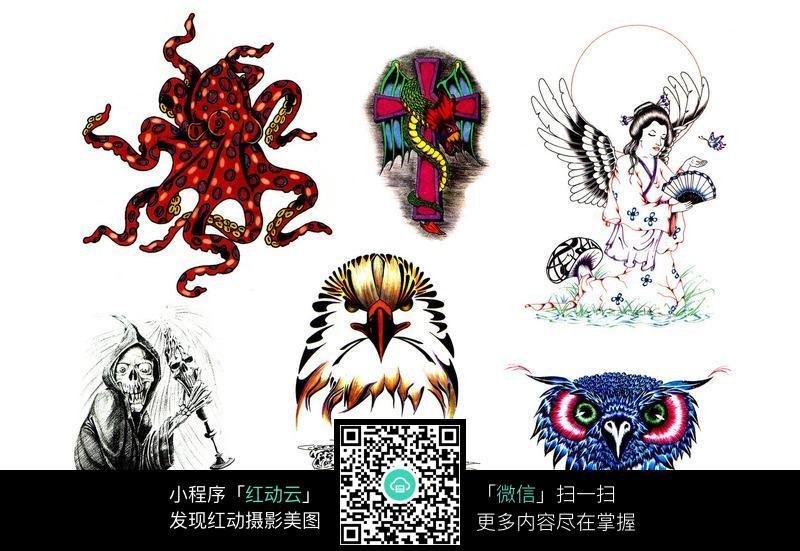 猫头鹰手绘纹身图案图片