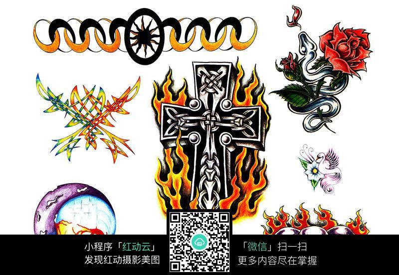 十字架手绘纹身图案