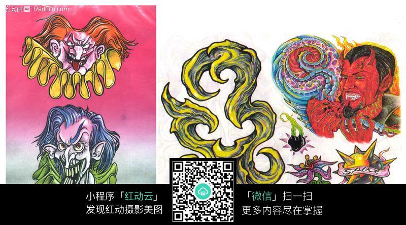 恐怖小丑手绘纹身图案图片