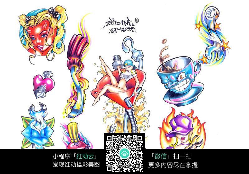 性感美女涂鸦手绘纹身图案