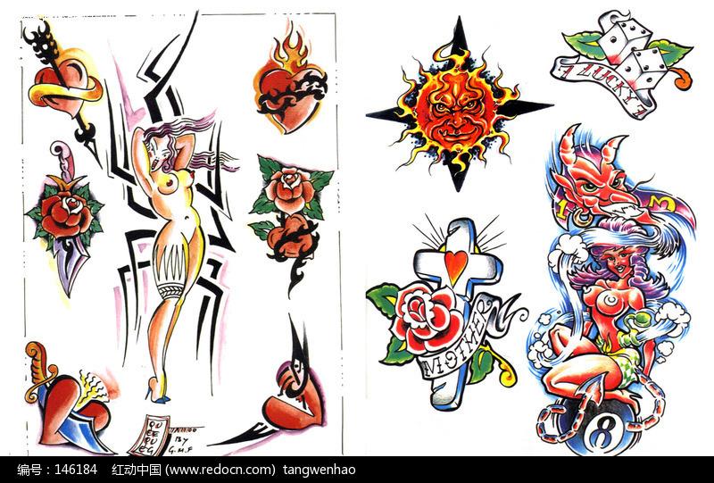 性感裸体美女手绘纹身图案