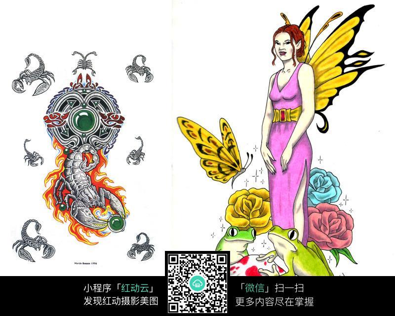 蝎子与美女手绘纹身图案图片