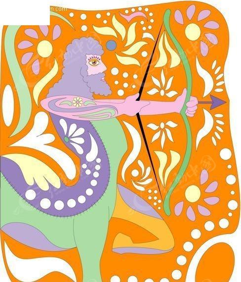 拉丁风情:墨西哥手绘星座矢量素材-射手座