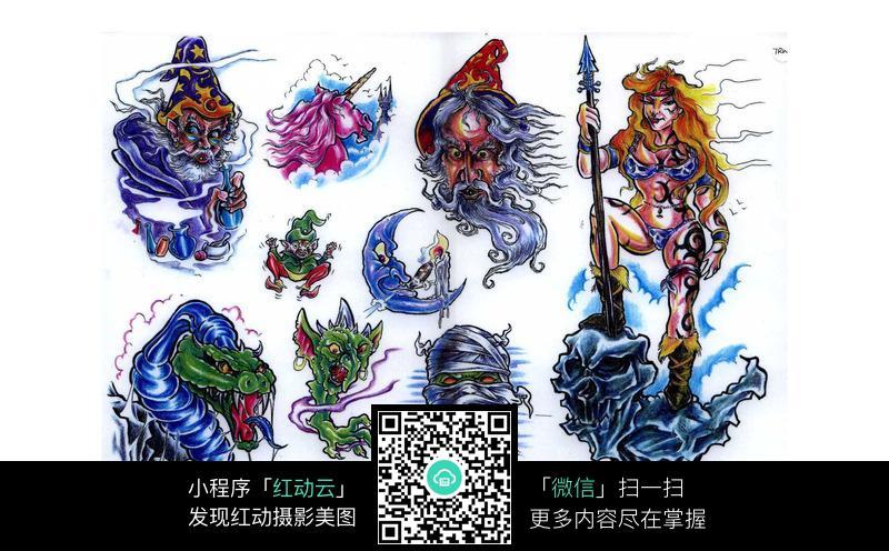 魔法师彩色手绘纹身图案图片