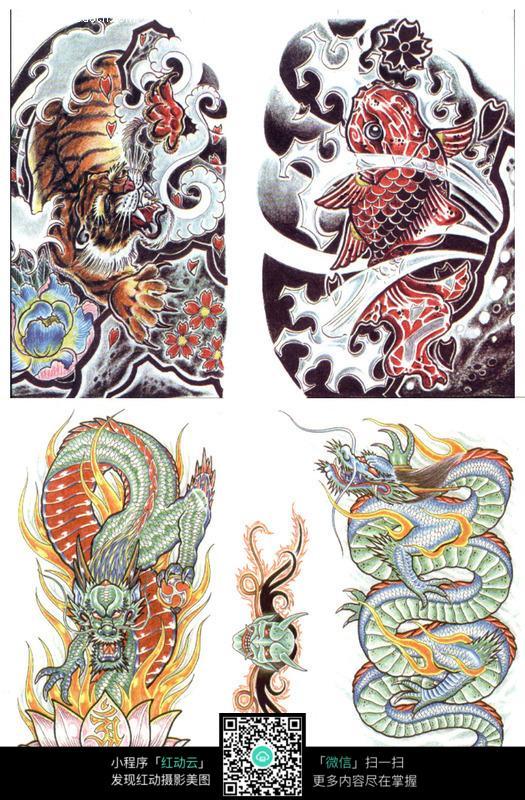 龙虎彩色手绘纹身图案