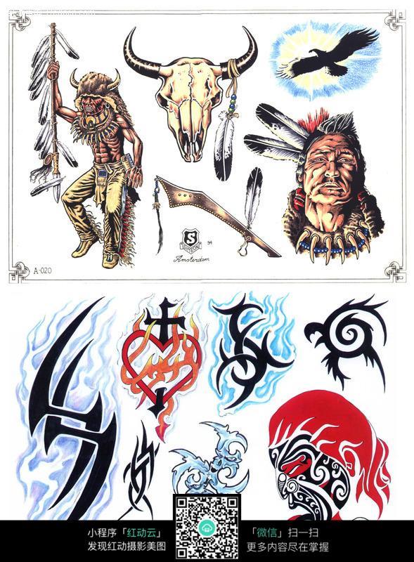 酋长彩色手绘纹身图案图片