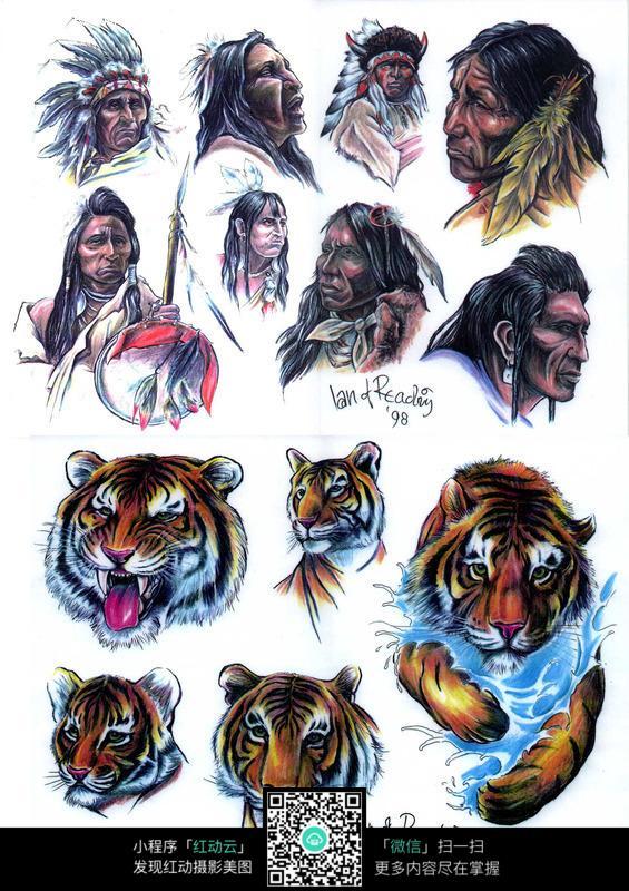 印第安人彩色手绘纹身图案