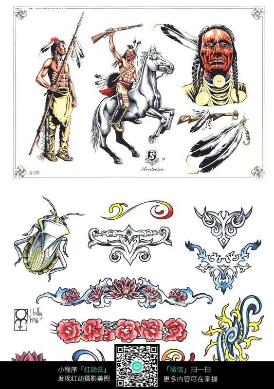 骑士彩色手绘纹身图案
