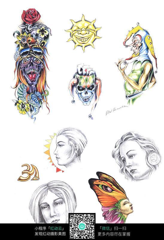小丑彩色手绘纹身图案图片
