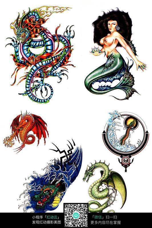 美人鱼彩色手绘纹身图案图片高清图片