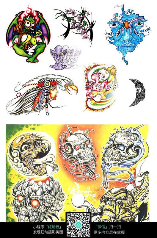 恶鬼彩色手绘纹身图案图片