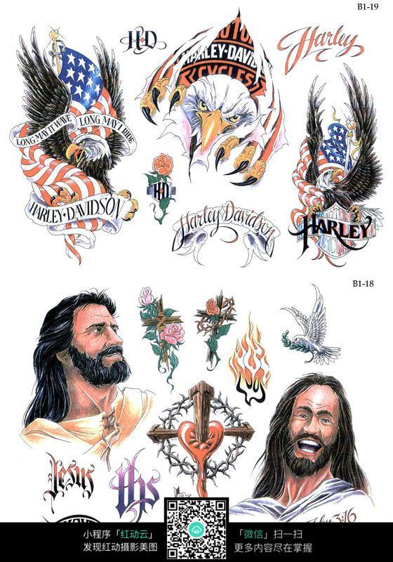 神父彩色手绘纹身图案图片