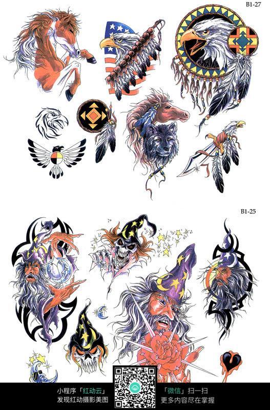 骏马彩色手绘纹身图案图片