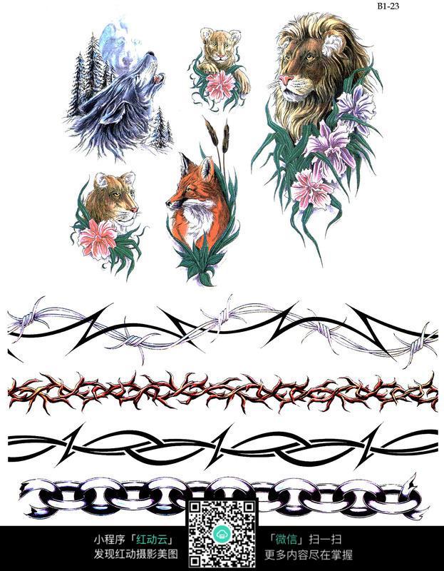 雄狮彩色手绘纹身图案图片