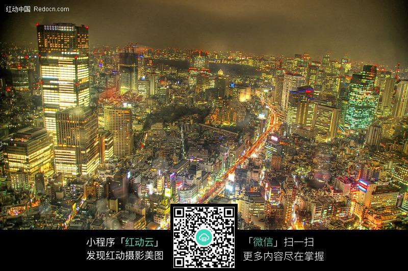 灯火辉煌城市夜景鸟瞰