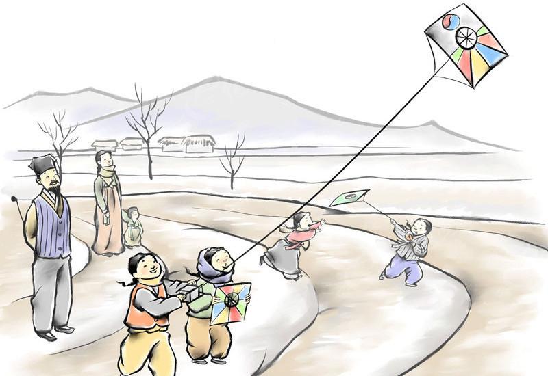 童趣放风筝手绘插画