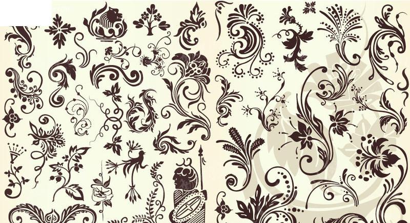 欧式古典华丽花纹花边 欧式古典华丽花边边框 图腾 时尚 羽毛 藤蔓
