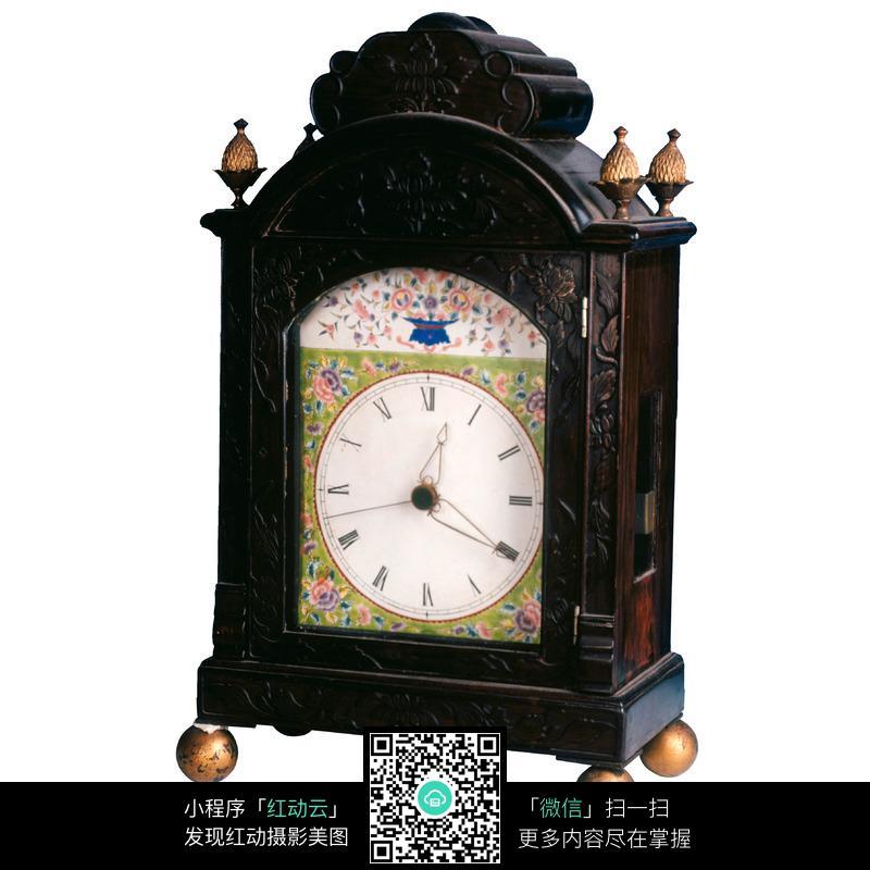 老式彩绘座钟图片图片