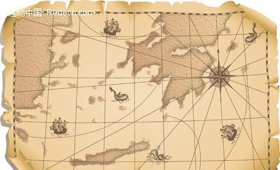 旧地图矢量素材矢量图