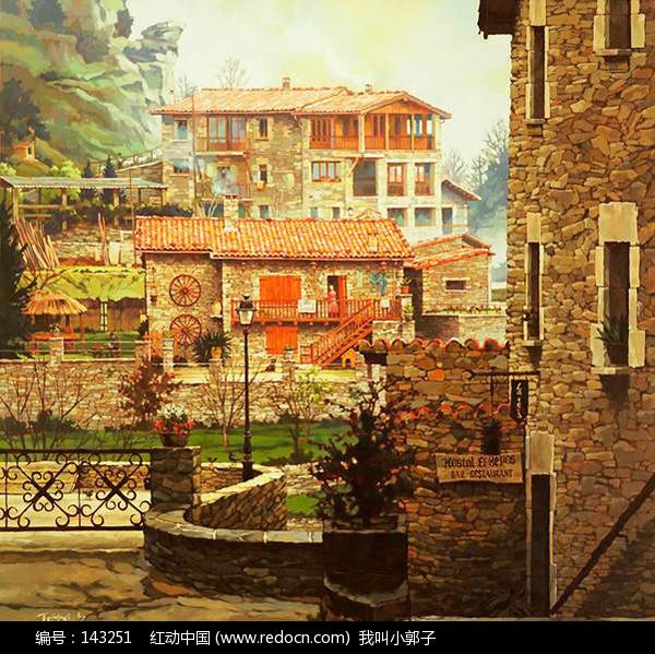 老房子寫生繪畫欣賞_水彩|水粉|油畫