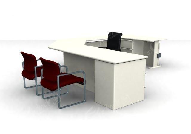 弧形组合式办公桌max模型3dmax素材免费下载_红动网图片