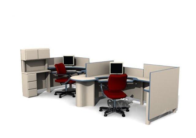 高档组合式办公桌max模型3dmax素材免费下载_红动网图片