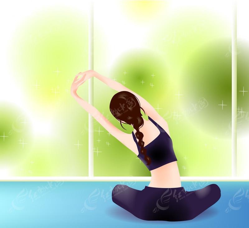 美女坐在地上练瑜伽健身操