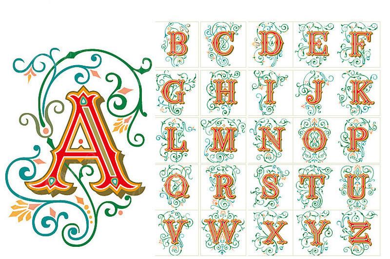 免费素材 字体下载 矢量字体 英文字体 带花边的欧美英文字母  请您