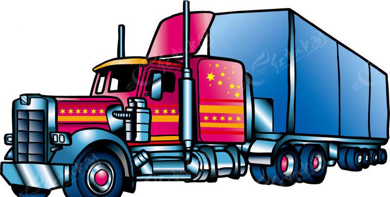 集装箱大卡车矢量图_交通工具
