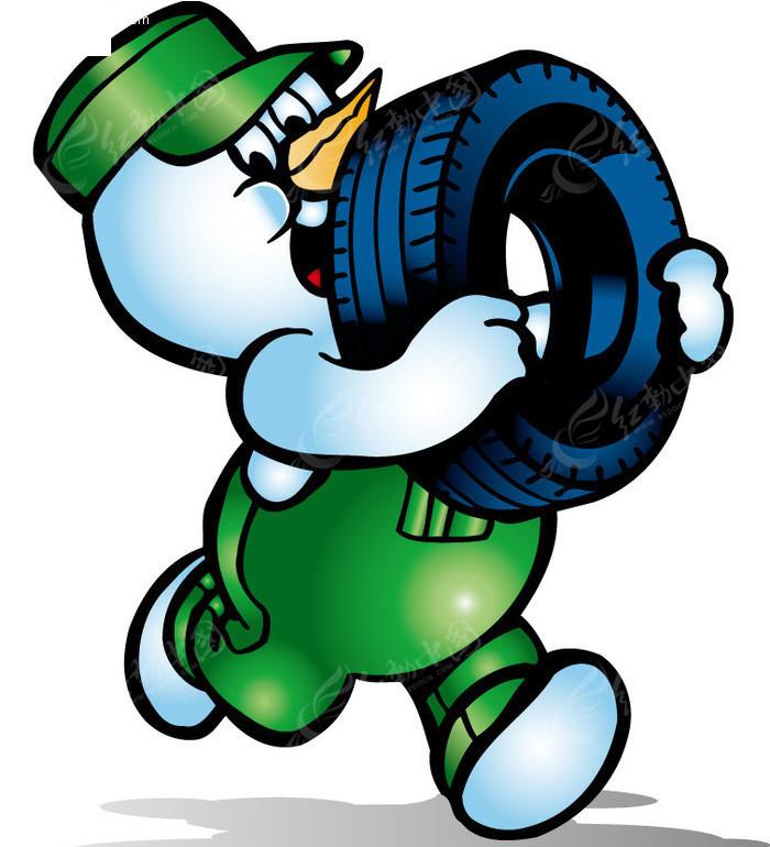 小鸡修理工搬轮胎矢量图EPS免费下载 卡通形象素材 -小鸡修理工搬轮高清图片