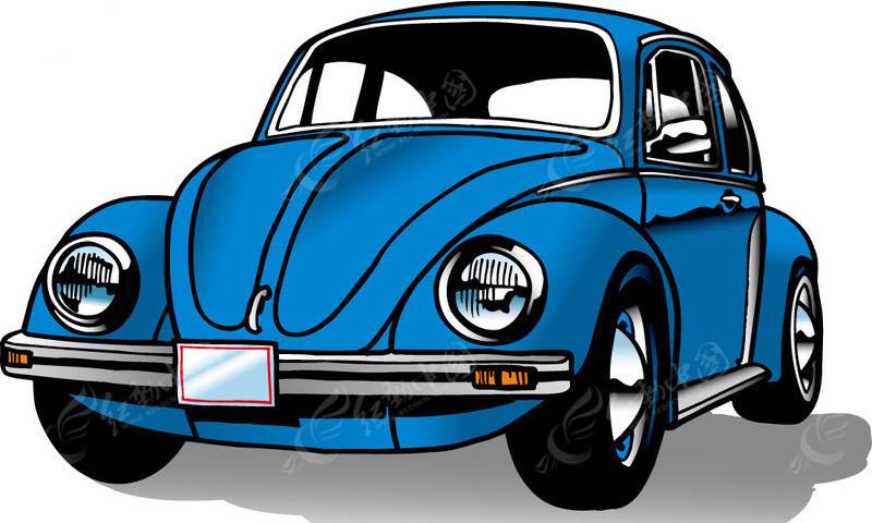 蓝色的小汽车