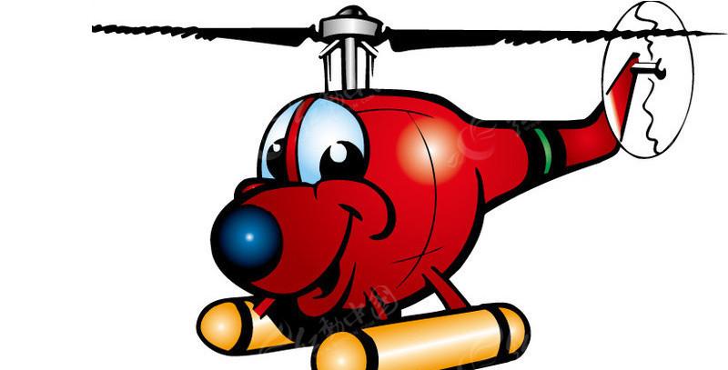 卡通直升机矢量图_卡通形象