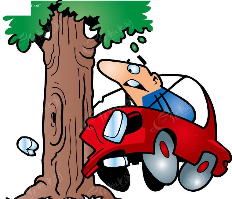 汽车撞在大树矢量图 -汽车撞在大树高清图片