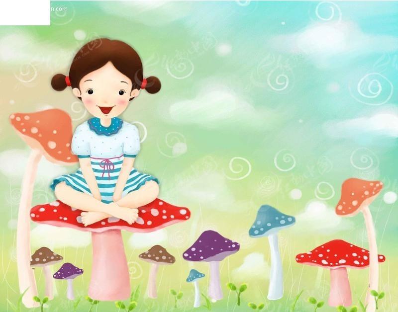 卡通儿童 彩色蘑菇 梦幻背景 卡通人物 漫画人物 psd分层素材