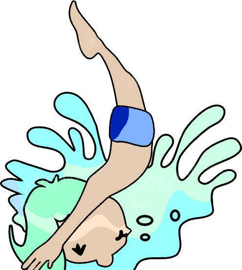 跳水 请勿跳水 小孩跳水 卡通 儿童  生活百科 矢量素材