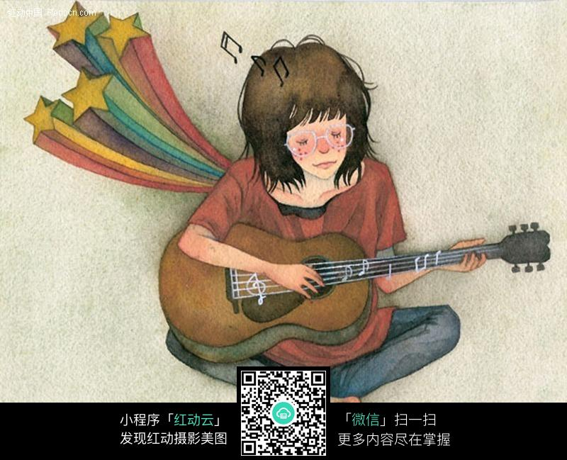 弹吉他的女孩_人物卡通图片