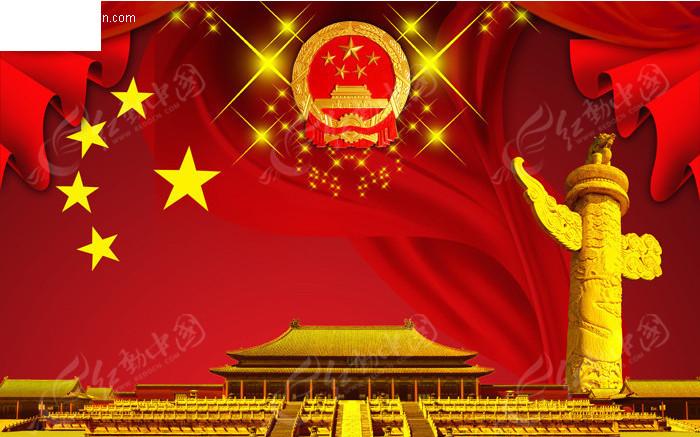 天安门华表飘带 国庆节素材