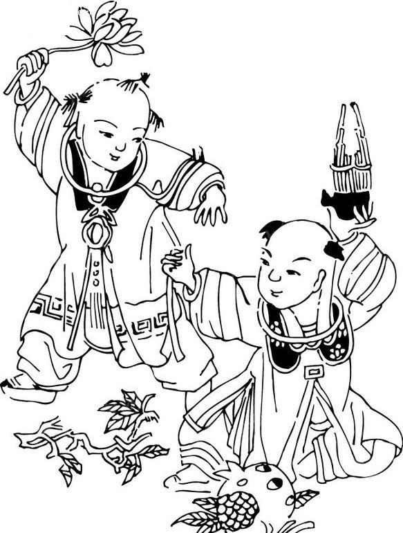 免费素材 矢量素材 矢量人物 古典人物 手绘古代儿童