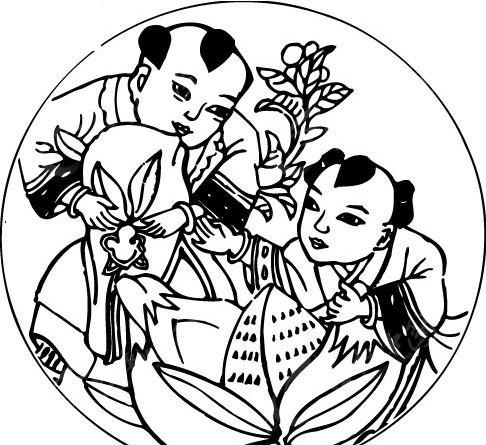 五谷丰收 两个小孩 桃子 手绘古代儿童  吉祥图 古代人物 古典人物