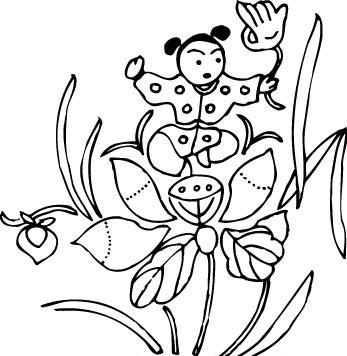 手绘古代儿童