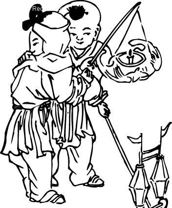两个小孩玩灯笼