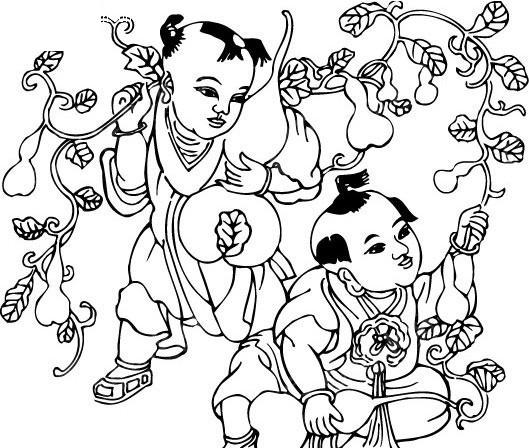 小孩子采摘葫芦