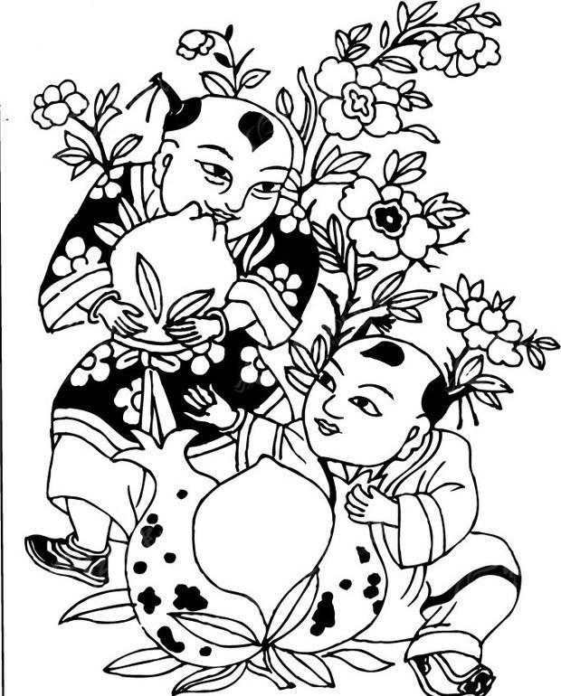 五谷丰收 两个小孩 桃子