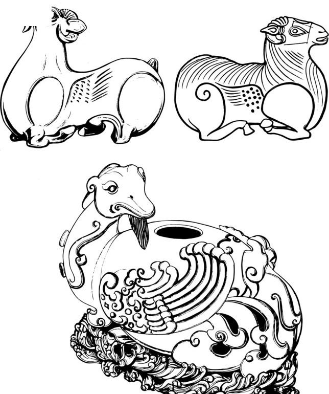 传统动物设计画