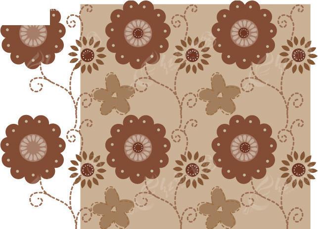 咖啡色花边印花图案