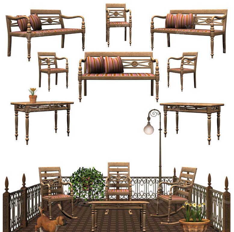 欧式桌椅阳台素材