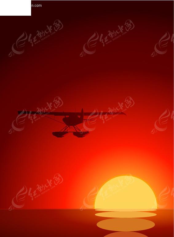 日落下的飞机矢量素材
