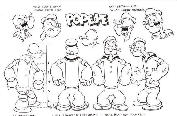 卡通插画大力水手波比和菠菜